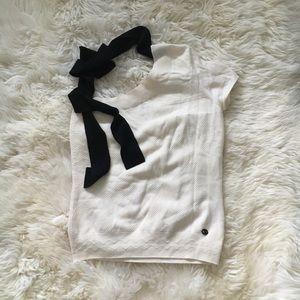 Chanel 07C ivory black tie one shoulder shirt 40